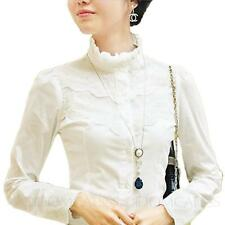 Office Lace Womens blouses Ladies Cotton Gorgeous long sleeve Shirt Top Size