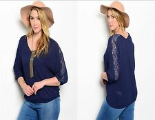 Plus Size Women Navy Peasant Boho 3/4 Sleeve Casual Top Blouse Lace Slim Relaxed