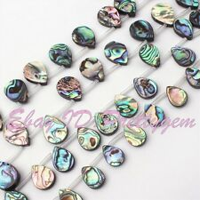 Top Hole Teardrop Multicolor Abalone Shell Gemstone Spacer Loose Beads,Pick Size
