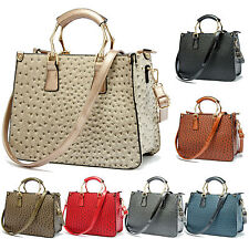 New Large Italian Designer Print Leather Women Shoulder Handbag Tote Bags Strap