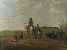 Aelbert Cuyp - A Landscape with Horseman, Herders and Cattle  Vintage Art Print