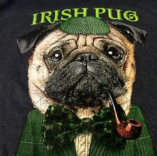 IRISH PUG IRISH PUB SHERLOCK T-Shirt Sz XL Heather Gray St Patricks New ~H1#200