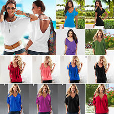 Womens Batwing Short Sleeve T-Shirt Blouse Ladies Crew/V Neck Summer Casual Tops