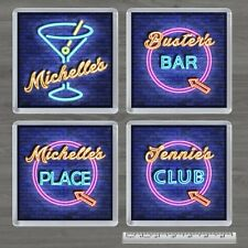 PERSONALISED COCKTAIL/PLACE NEON SIGN SQUARE FRIDGE MAGNET - BIRTHDAY XMAS GIFT