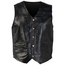New Mens Black Genuine Leather VEST Motorcycle Biker Fully Lined 2 Small Pockets