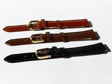 Genuine Leather Watch Strap, Calf Croco Black Brown 10, 12, 14, 16, 18, 20 mm