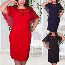 Fashion Women Hollow Out Plus Size Batwing Sleeve Dress Cocktail Party Sundress