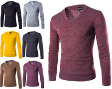Fashion Men Casual Pullover Knit Shirt V-neck Sweater Long Sleeve T-shirt Tops X