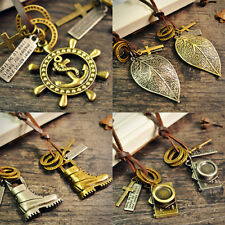 Men Modern Leather Rope Anchor Leaf Shoe Key Feather Ring Pendant Cord Necklace
