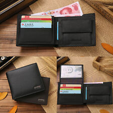 Mens Genuine Leather Slim Brown Trifold Wallet Credit/ID Card Holder Coin Purse