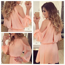 Hot Summer Sexy Lady Pink Long Sleeve Shoulder Chiffon Casual Knee-Length Dress