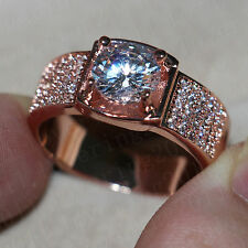 Handmade Men Solitaire 3ct White sapphire Rose Gold 925 Silver Wedding Band Ring