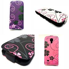 FLOWER DESIGN STYLE PRINT PU LEATHER FLIP POUCH CASE COVER FOR SAMSUNG GALAXY S4