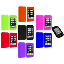 Silicone Rubber Gel Soft Case Cover+Sticky Pad for iPod Touch 3rd 2nd Gen 3G 2G
