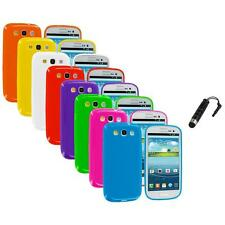 TPU Jelly Solid Rubber Case Cover+Stylus Plug for Samsung Galaxy S III S3 i9300