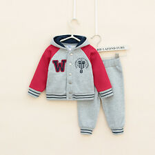 Baby Clothing Boys 2pcs Set Gray Jacket with Hoodie & Pants Sport Tracksuits