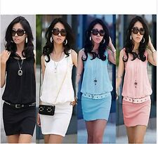 New Crew Neck Sleeveless Casual Chiffon Sundress Tunic Bodycon Womens Mini Dress