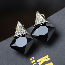 Gold Plated Shiny Small Rhinestons Big Zircons Grace Fashion Women Earring Studs