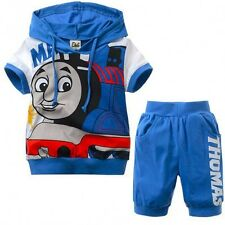 Toddlers Kids Blue Thomas 2 Pieces Clothing Set - Short Sleeves Pullover Shirt