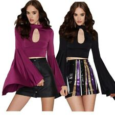 Sexy Women Cut Out Keyhole Bell Sleeve Bodycon Cropped Club Top Blouse Tee Shirt
