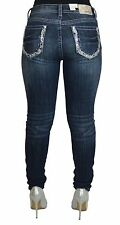 Grace in LA Women's Idol Jeans Paisley Sequin Stitched Dark Wash Skinny Easy Fit