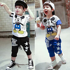 Kids Baby Boys Mickey Mouse Outfits Set Cotton T-shirt Top+Pants Casual Clothing