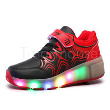LED Light Trainers Unisex Roller Shoes Flashing Roller Skates With Wheel Black