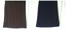 NEW LADIES SIZES 10-12 NAVY OR BROWN KNIFE PLEAT ELASTICATED WAIST PULL ON SKIRT