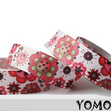 "7/8""22mm Flower Printed grosgrain ribbon 10/50/100 yards hairbow Wholesale"