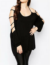 Casual Swing Arm Long Sleeve Sexy Tops Summer Clothes Women Cut out Blouses Plus