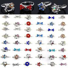 Wholesale Mix Lots Cute Crystal Children Kids Silver Adjustable Rings