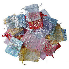 25/50/100Pcs Heart Flower Organza Jewelry Pouch Wedding Party Favor Bags 9X7cm