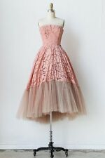 Sexy Women Pink Prom Ball Cocktail Party Dress Formal Evening Gown Lace Dress