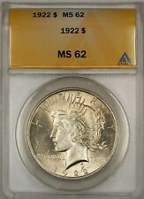 1922 Peace Silver Dollar $1 ANACS MS-62 (Better Coin) (10a)