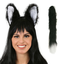 BLACK CAT EARS WITH TAIL HEADBAND FANCY DRESS COSTUME ACCESSORY FUR ANIMAL