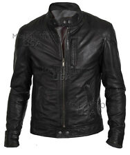 Men's Black Biker Style Real Leather Jacket - All Sizes