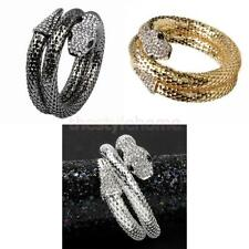 Lady's Retro Punk Bracelet Crystal Chunky Curved Stretch Snake Bangle Nightclub