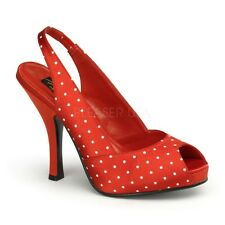 Pin Up Couture CUTIEPIE-03 Red Satin (Polka Dots Print) Slingback Sandal