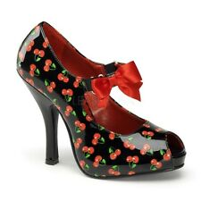 Pin Up Couture CUTIEPIE-07 Black-Red Patent (Cherries Print) Mary Jane Shoe