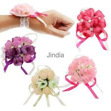 Wrist Corsage Bracelet Bridesmaid Sisters Ribbon Hand Flowers Wedding Party