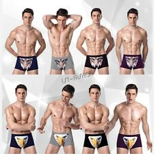Mens Sexy 3D Wolf Eagle Boxer Briefs Underwear Trunks Shorts Underpant Swimwear