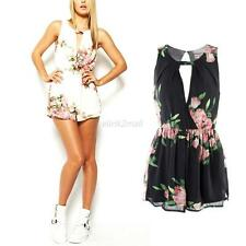 Women Ladies Chiffon Floral Sleeveless Romper Playsuit Jumpsuit Bodycon Trousers