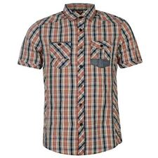 Lee Cooper Mens Gents Yarn Dye Check Shirt Short Sleeve Summer Top Clothing