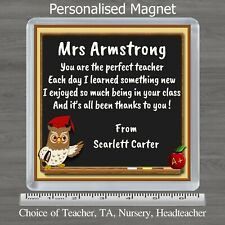 PERSONALISED TEACHER / TEACHING ASSISTANT POEM MAGNET OWL GIFT XMAS END OF TERM