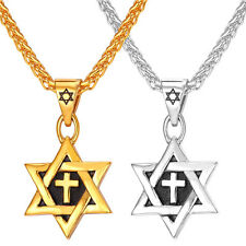 Star of David Stainless Steel Pendant Cross Necklace 18K Gold Plated Men Jewelry