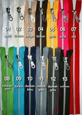 Zippers Metal, Aluminum, 3 PCS, closed ended, from 12 to 30 cm, in 13 Colors