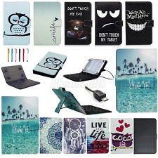 """For Toshiba Encore 2 WT10-A-102 10"""" Tablet Universal PU Stand Cover+USB Keyboard"""