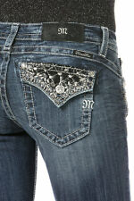 Miss Me Jeans Women's Made to Shine Boot Cut Black Leather Studs Crystal JP8494B