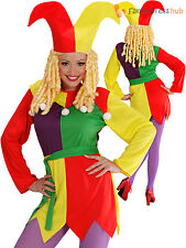 Ladies Jolly Jester Costume Adults Circus Clown Fancy Dress Womens Outfit
