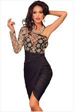 Selling Women Single Sleeve Irregular Oblique Collar Sexy Lace Package Hip Dress